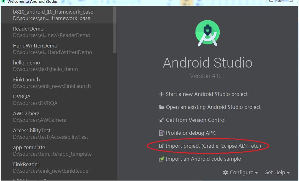 导入 Android Stuido